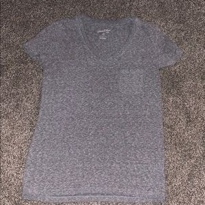 Plain grey v-neck pocket tee